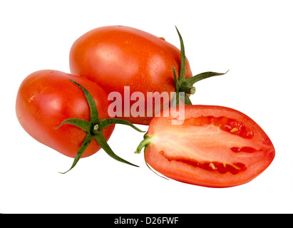 Red tomatoes vegetable with one sliced isolated on white background - Stock Photo