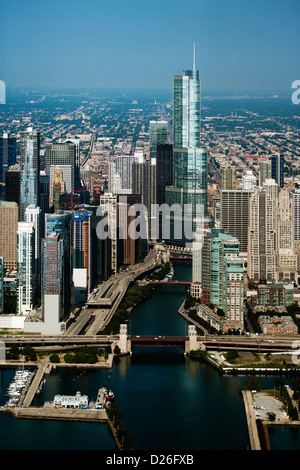 aerial photograph Chicago river, downtown Chicago, Illinois - Stock Photo