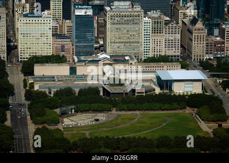 aerial photograph James C. Petrillo Music Shell, Art Institute, Grant Park, Chicago, Illinois - Stock Photo