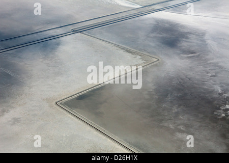 aerial photograph interstate I 80 at Bonneville Salt Flats, Utah - Stock Photo
