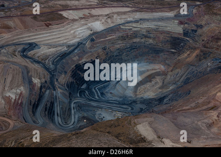 aerial photograph open pit mine Nevada - Stock Photo