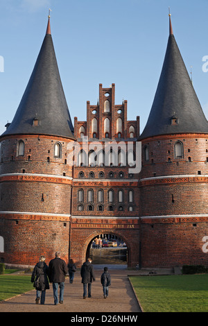 Luebeck, Germany, the Holsten in typical North German Backteingotik - Stock Photo