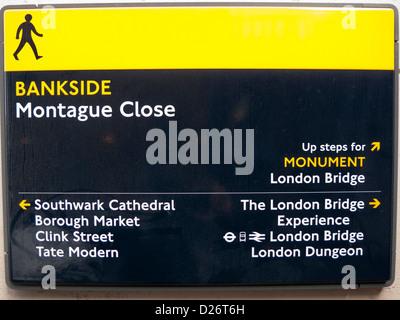 Bankside sign, London, England, UK - Stock Photo