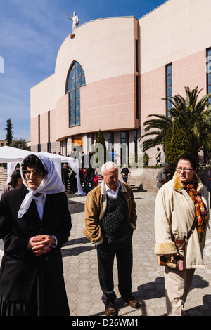 People at St Paul's Catholic Cathedral. Tirana, Albania - Stock Photo