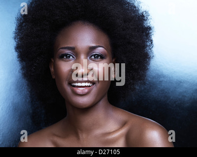Beautiful simling young african american woman closeup of face portrait - Stock Photo