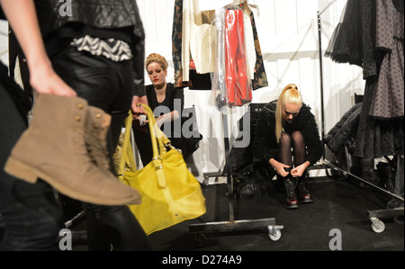 Models backstage at the Lena Hoschek show during the Mercedes-Benz Fashion Week in Berlin, Germany, 15 January 2013. - Stock Photo