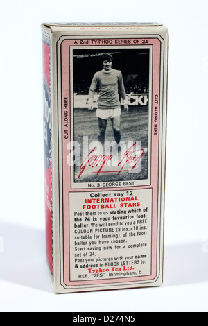 1969 Typhoo Tea box with International Football Stars picture card promotion - Stock Photo