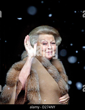 Queen Beatrix of The Netherlands arrives at the Royal Palace for the new year reception in Amsterdam, The Netherlands, - Stock Photo