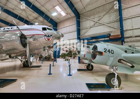 Beech AT-11 Kansan, Douglas DC-3A Dakota, at Lone Star Flight Museum, Galveston, Texas, USA - Stock Photo