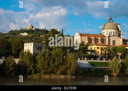 Giorgio in Braida church and Santuario della Madonna di Lourdes church on the hill Verona city the Veneto region - Stock Photo
