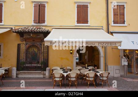 Restaurant and shops Bardelino town Lago di Garda the Garda Lake the Veneto region Italy Europe - Stock Photo