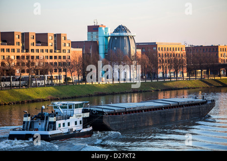 Eastern parts of the city on the Maas, Bonnefantenmuseum cargo ship, Maastricht, Limburg, Netherlands, Europe. - Stock Photo