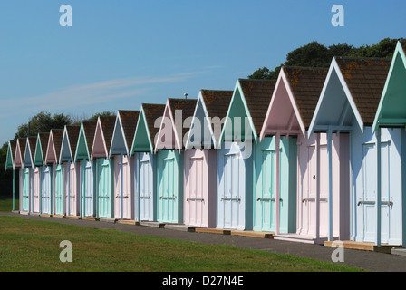 Colourful pastel painted beach huts at Southsea. Portsmouth. Hampshire. England - Stock Photo