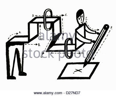 """Diagram of man writing letter """"X"""" on paper - Stock Photo"""