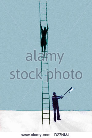 Businessman with axe chopping ladder businesswoman is climbing - Stock Photo