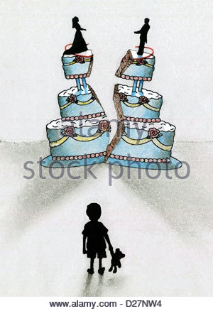 Child with teddy bear looking at splitting wedding cake - Stock Photo