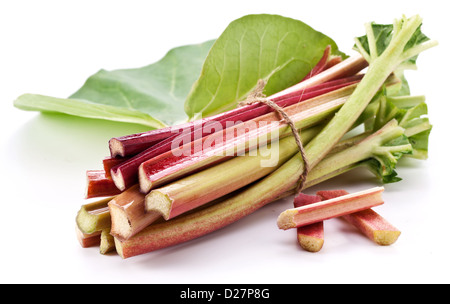 Rhubarb stalks on a white background. - Stock Photo