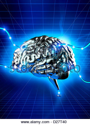 Sparks from wires connected to human brain - Stock Photo