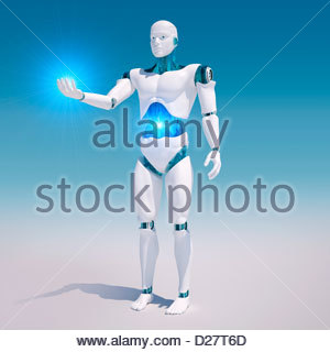 White android with illuminated stomach holding light - Stock Photo