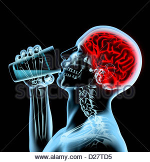 X-ray of man with red brain drinking from glass - Stock Photo
