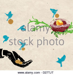 Birds carrying coins from hand to nest with gold egg - Stock Photo