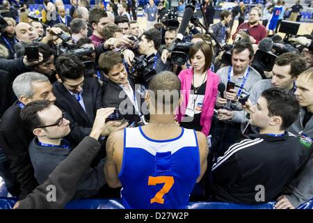 London, UK. 16th January 2013. New York Knicks forward Carmelo Anthony (7) talks to the media during team practice - Stock Photo