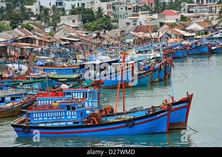 Fishing fleet at harbor, Nha Trang, Vietnam - Stock Photo