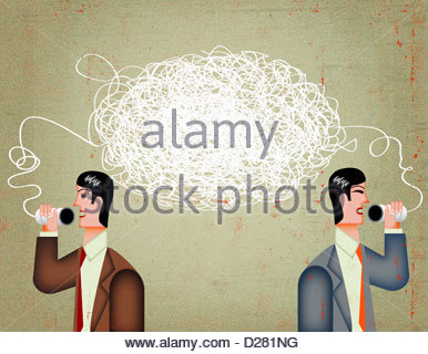 Tangled string connecting businessmen talking on tin can telephone - Stock Photo
