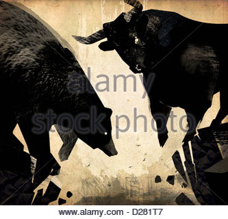 Bull and bear at the edge of crumbling cliff - Stock Photo
