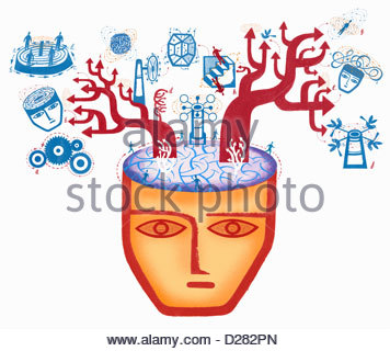 Arrows and problem solving images emerging from brain - Stock Photo