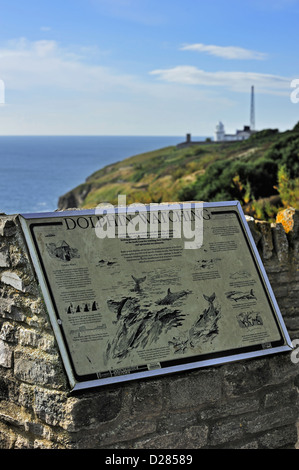 Dolphin watching information board at Durlston Head, Isle of Purbeck along the Jurassic Coast in Dorset, southern - Stock Photo