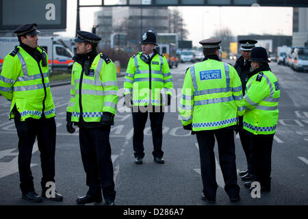 Police at the scene after a helicopter crash into a crane at Vauxhall., London. - Stock Photo