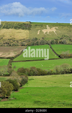 The Osmington White Horse, hill figure of George III on horseback sculpted in 1808, Jurassic Coast, Dorset, southern - Stock Photo