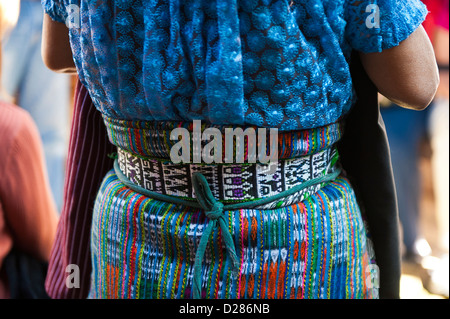 Guatemala, Santiago Atitlan. Mayan woman wearing traditional Mayan huipiles (blouse) and corte (skirt). - Stock Photo