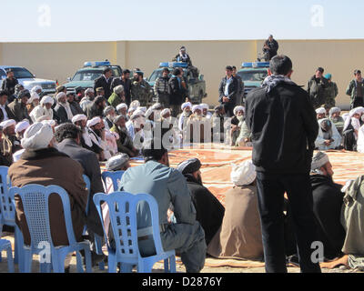 Bala Boluk district elders from Farah province particpate in a security shura at the Bala Boluk district center, - Stock Photo