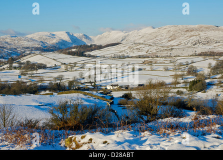 Causeway Farm, Woundale and the Troutbeck Valley, viewed from Orrest Head, Lake District National Park, Cumbria, - Stock Photo