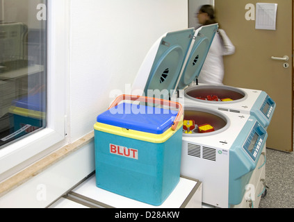 Essen, Germany, in cytology is a Cooling bag for transport of blood - Stock Photo