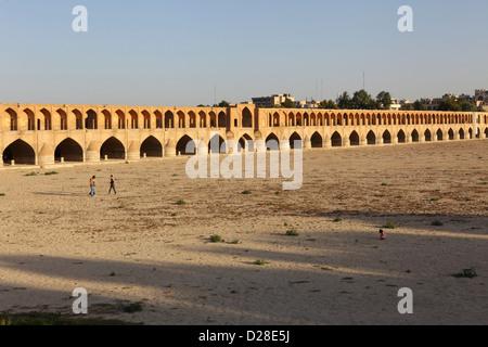 Si-o-Seh Pol, also called the Bridge of 33 Arches, Esfahan, Iran - Stock Photo