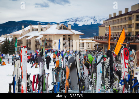 USA, Colorado, Crested Butte, Mount Crested Butte Ski Village, skis - Stock Photo