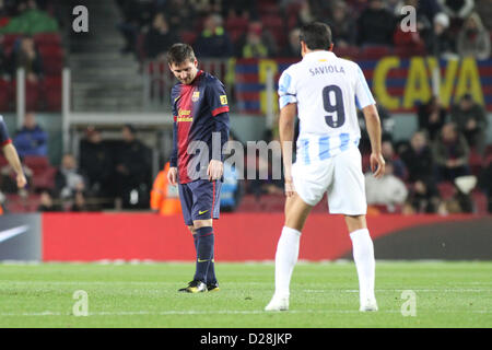 Barcelona, Spain. 16th January 2013.  Messi and Saviola during the Spanish Copa del Rey game between Barcelona and - Stock Photo