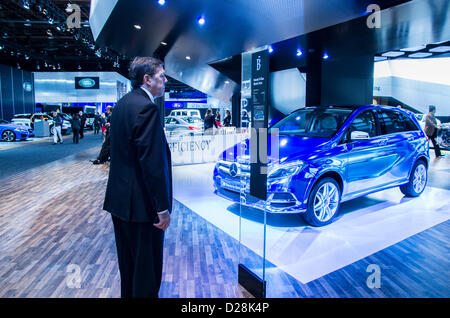 Mercedes Benz  Class B Electric Drive concept in  American International Auto Show (NAIAS) 2013. - Stock Photo