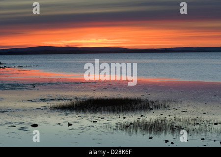 Sunset over Loch of Harray, Orkney Islands, Scotland. - Stock Photo