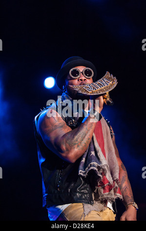 Hip-hop artist Flo Rida plays at the 'COTA Club' in Austin Convention Center on November 16th, 2012. - Stock Photo