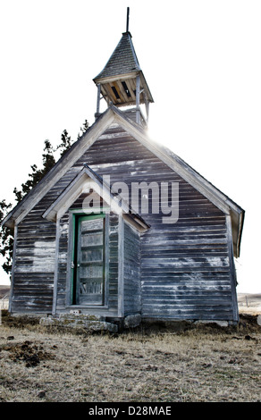 An old abandoned church on the Pine Ridge Reservation in South Dakota. - Stock Photo