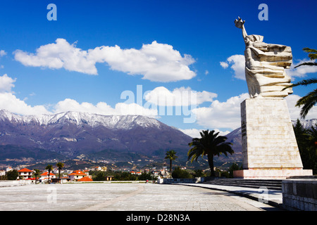 Mother Albania 12 meters statue by the 28.000 graves of Albanian partisans at the National Martyrs Cemetery. Tirana, - Stock Photo