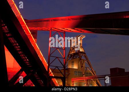 Essen, Germany, the Zeche Zollverein illuminated at night - Stock Photo