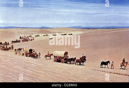 Der Weg Nach Westen  Way West,  Im April 1843 bricht von Missouri aus ein grosser Siedlertreck nach Westen auf. - Stock Photo