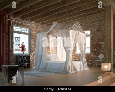 Luxury loft bedroom, with four poster bed. Wooden floor and ceiling and walls made of old bricks, with some pipelines. - Stock Photo