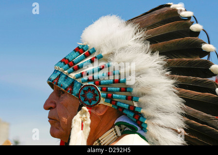 Squamish First Nations Chief At Opening Ceremonies Of Pow-Wow, West Vancouver, B.C., Canada - Stock Photo