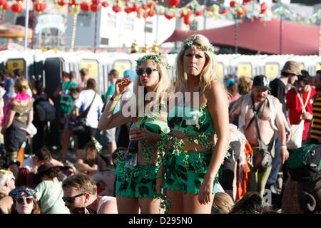 girls in costume at BESTIVAL FESTIVAL, ISLE OF WHITE, SEPTEMBER 2012 - Stock Photo